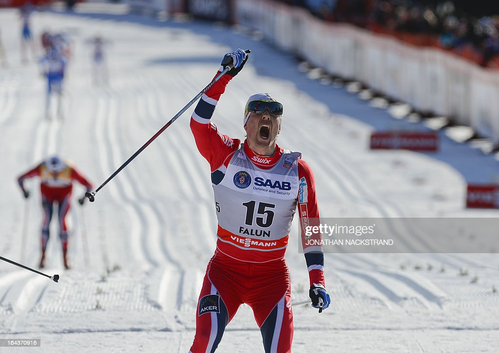 Norway's Eldar Roenning reacts after crossing the finish line to win the FIS Cross-Country World Cup Men 15 km Classic Mass Start in Falun, on March 23, 2013. Roenning won ahead of Russia's Maxim Vylegzhanin and Norway's Martin Johnsrud Sundby.