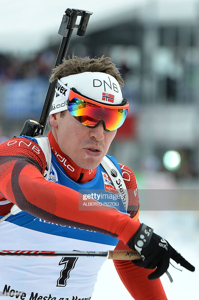 Norway's Emil Hegle Svendsen celebrates his victory at the finish line of the pursuit men12,5 km as part of IBU Biathlon World Championships in Nove Mesto, Czech Republic, on February 10, 2013. Svendsen won ahead of France's Martin Fourcade and Russia's Anton Shipulin.