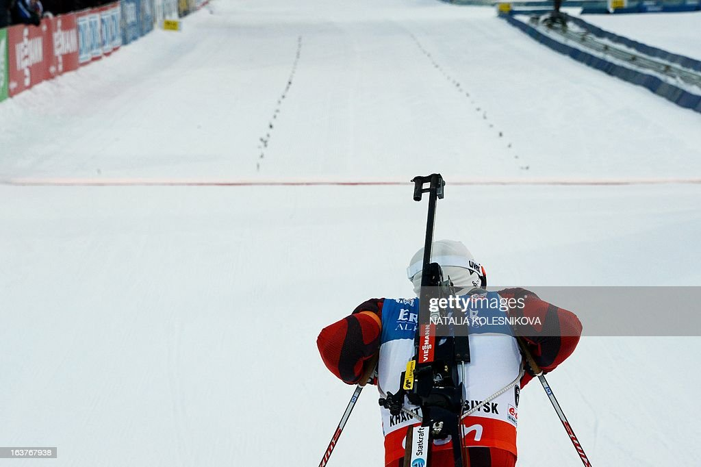 Norway's Emil Svendsen crosses the finish line during the men's 10 km sprint event of the IBU Biathlon Word Cup in the Siberian city of Khanty-Mansiysk, on March 15, 2013. France's Martin Fourcade took the first place ahead of Italy's Lukas Hofer and Germany's Andreas Birnbacher.