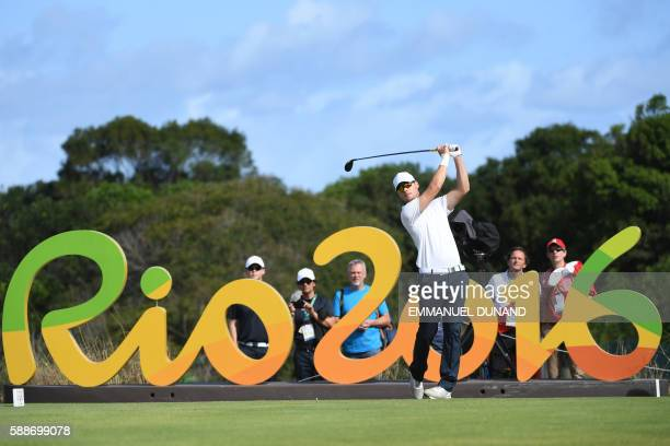 Norway's Espen Kofstad competes in the men's individual stroke play at the Olympic Golf course during the Rio 2016 Olympic Games in Rio de Janeiro on...