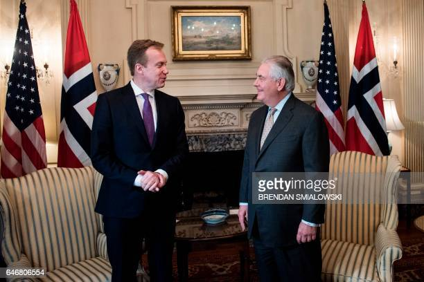 Norway's Foreign Minister Borge Brende and US Secretary of State Rex Tillerson wait for a meeting at the US Department of State on March 1 2017 in...