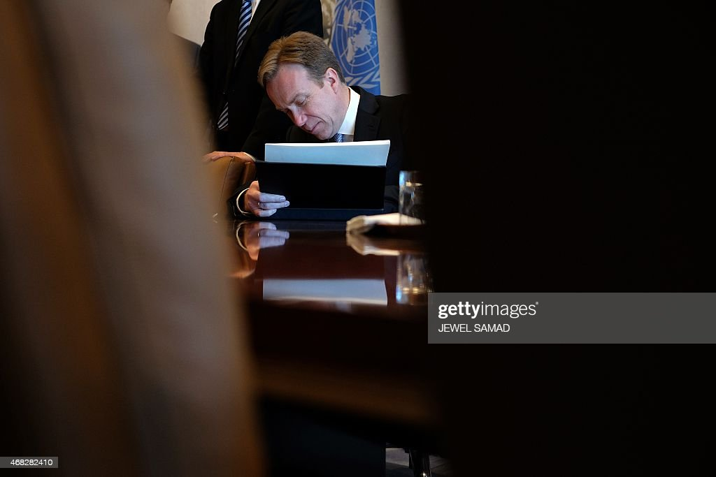 Norway's Foreign Minister Borge Brende sits for a meeting with United Nations Secretary General at the UN headquarters in New York on April 1, 2015.