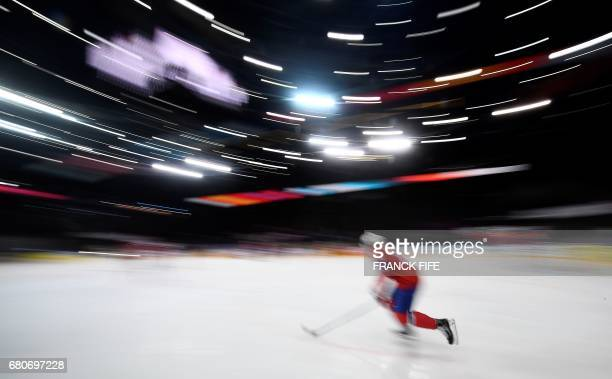 TOPSHOT Norway's forward Andreas Martinsen warms up ahead of the IIHF Men's World Championship group B Ice Hockey match between Slovenia and Norway...