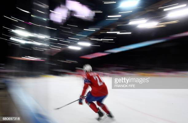 Norway's forward Andreas Martinsen warms up ahead of the IIHF Men's World Championship group B Ice Hockey match between Slovenia and Norway on May 9...