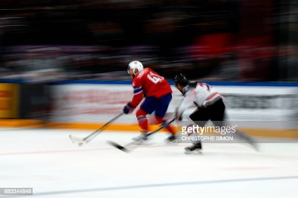 Norway's forward Patrick Thoresen controls the puck during the IIHF Men's World Championship group B ice hockey match between Canada and Norway on...