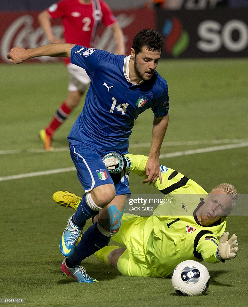 Norway's goalkeeper Arild Ostbo (R) tries to stop Italy's forward Mattia Destro from scoring during the 2013 UEFA U-21 Championship group A football match between Norway and Italy at Bloomfield Stadium in Tel Aviv on June 11, 2013.