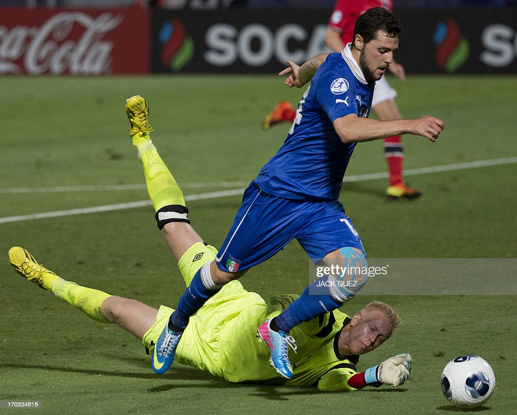 Norway's goalkeeper Arild Ostbo (bottom) tries to stop Italy's forward Mattia Destro from scoring during the 2013 UEFA U-21 Championship group A football match between Norway and Italy at Bloomfield Stadium in Tel Aviv on June 11, 2013.