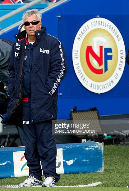 Norway's head coach Egil Olsen looks at the playing field during the international friendly football match between Norway and Croatia at Ullevaal...