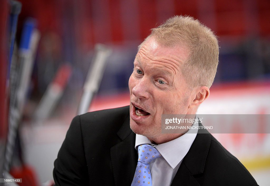 Norway's head coach Roy Johansen reacts during the preliminary round match Norway vs Switzerland at the 2013 IIHF Ice Hockey World Championships on May 12, 2013 in Stockholm.