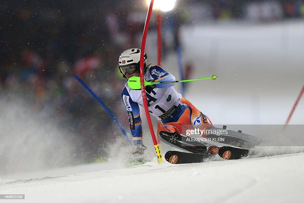 Norway's Henrik Kristoffersen competes on January 28 2014 during the first run of the men's slalom competion of the FIS Ski World Cup in Schladming...