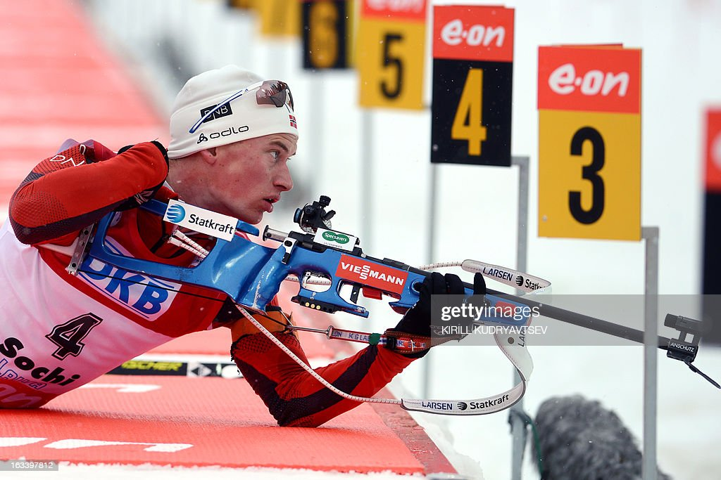 Norway's Henrik L'Abee-Lund prepares to shoot during the Men 7,5 km Sprint during IBU World Cup Biathlon at Laura Cross Country and Biathlon Center in Russian Black Sea resort of Sochi on March 9, 2013. France's Martin Fourcade took the first place ahead of Russia's Evgeny Ustyugov and Norway's Henrik L'Abee-Lund.