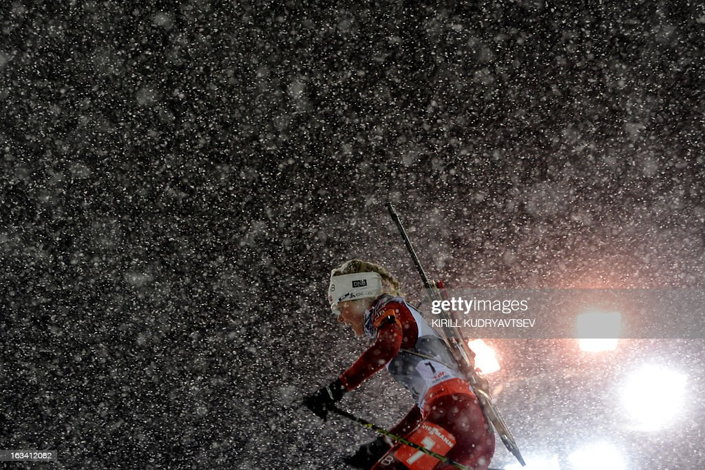 Norway's Hilde Fenne competes in the Women 7.5 km Sprint during IBU World Cup Biathlon at Laura Cross Country and Biathlon Centre in Sochi on March 9, 2013. Poland's Magdalena Gwizdon took the first place ahead of Slovakia's Anastasiya Kuzmina and Norway's Tora Berger.