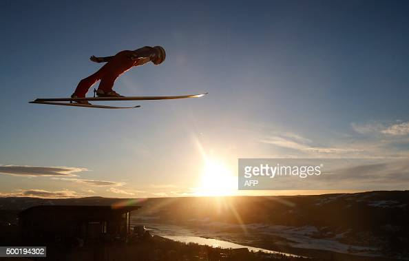 Norway's Johann Andre Forfang competes during the Normal Hill Individual competition of the Fis Ski Jumping World Cup in Lillehammer Norway on...