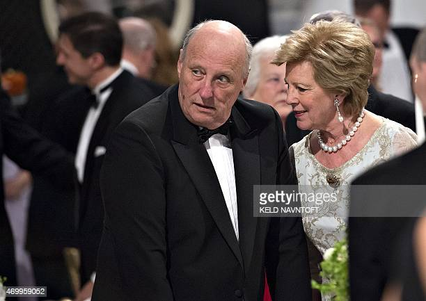 Norway's King Harald and Queen Anne Marie chats beforethe dinner at Fredensborg Palace on the occasion of Danish Queen Margrethe's 75th birthday on...