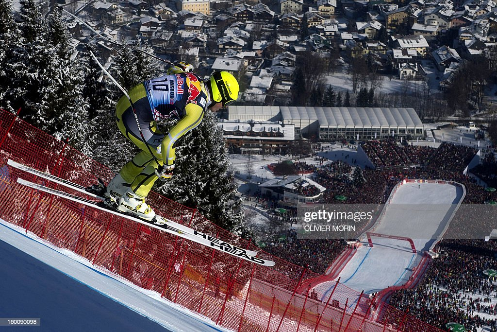 Norway's Kjetil Jansrud competes during the FIS World Cup men's downhill race on January 26, 2013 in Kitzbuehel, Austrian Alps.