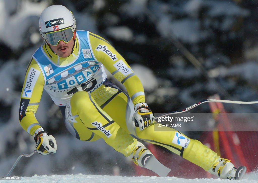 Norway's Kjetil Jansrud skis during the downhill practice for the Alpine Skiing World Cup in Lake Louise, Canada on November 22, 2012.