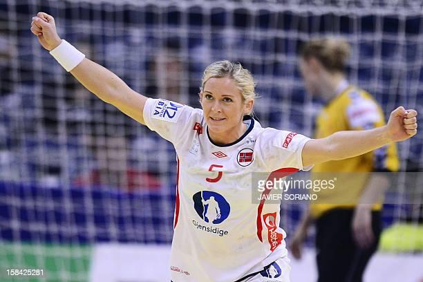Norway's leftback Ida Alstad celebrates after scoring a goal during the 2012 EHF European Women's Handball Championship final match between...
