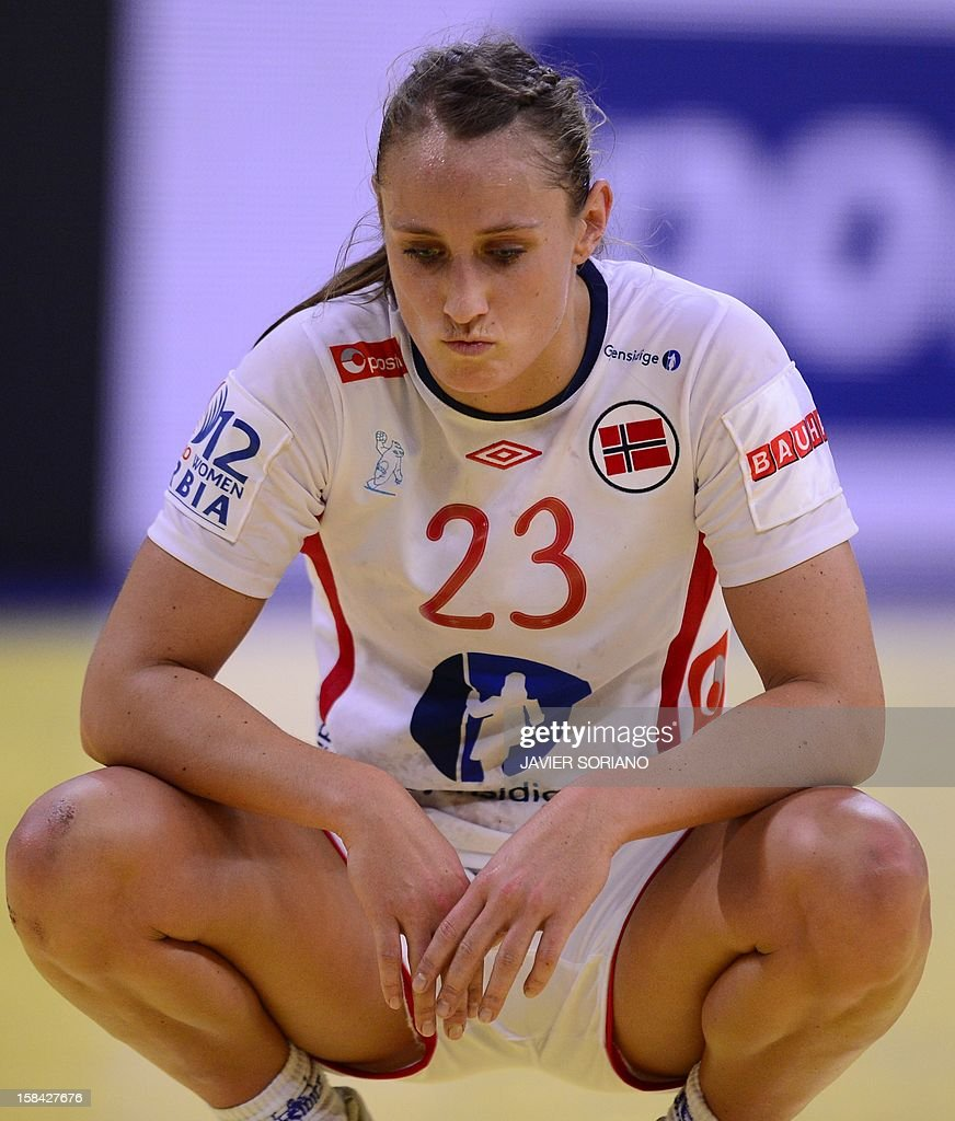 Norway's leftwing Camilla Herrem reacts at the end of the 2012 EHF European Women's Handball Championship final match Norway vs Montenegro on December 16 , 2012, at the Kombank Arena of Belgrade.
