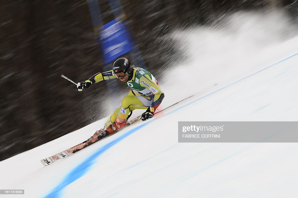 Norway's Leif Kristian Haugen skis during the first run of the men's Giant slalom at the 2013 Ski World Championships in Schladming, Austria on February 15, 2013.