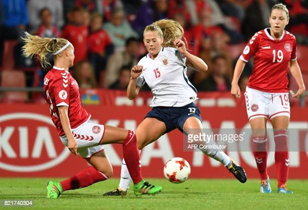 Norway's LisaMarie Utland vies with Denmark's Stine Larsen during the UEFA Women's Euro 2017 football match between Norway and Denmark at Stadion De...
