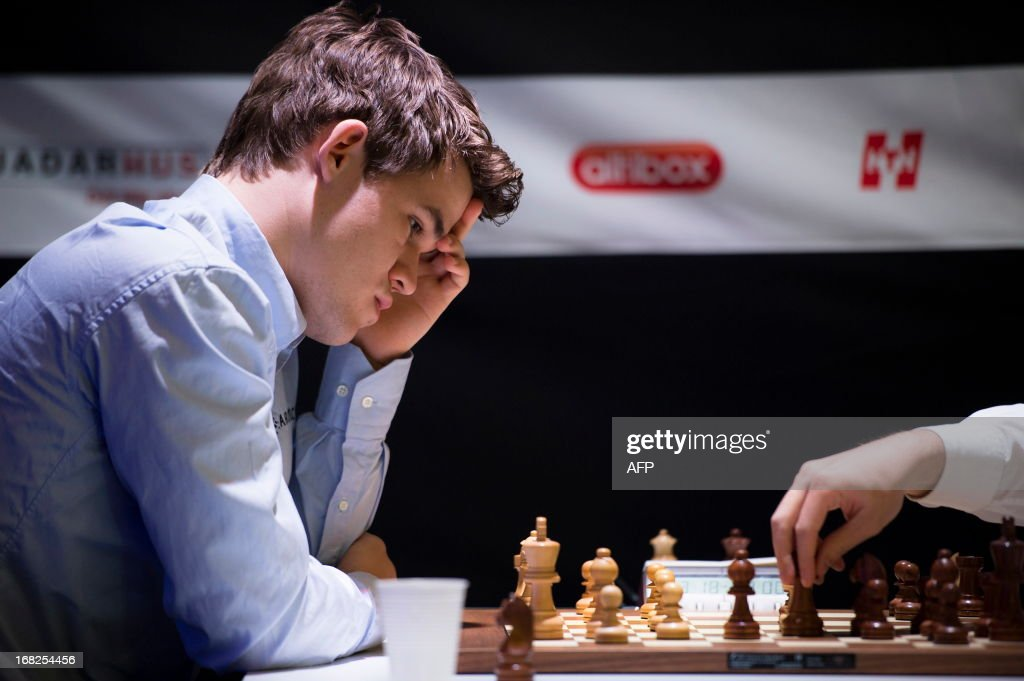 Norway`s Magnus Carlsen is pictured during the Norway Chess 2013 Blitz tournament in Sandnes near Stavanger, on May 7, 2013. AFP PHOTO / SCANPIX NORWAY / KENT SKIBSTADT / NORWAY OUT