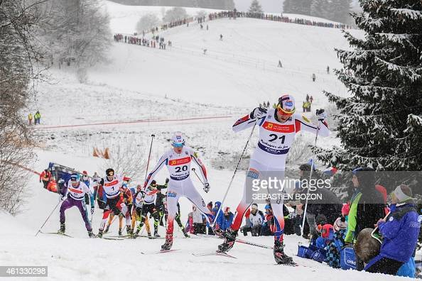Norway's Magnus Moan competes ahead Norway's Magnus Krog during the skiing race during the individual Gundersen of the FIS Nordic Combined World Cup...