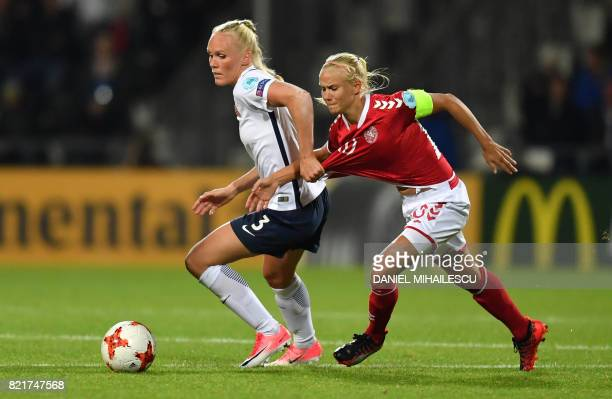 TOPSHOT Norway's Maria Thorisdottir vies with Denmark's Pernille Harder during the UEFA Women's Euro 2017 football match between Norway and Denmark...