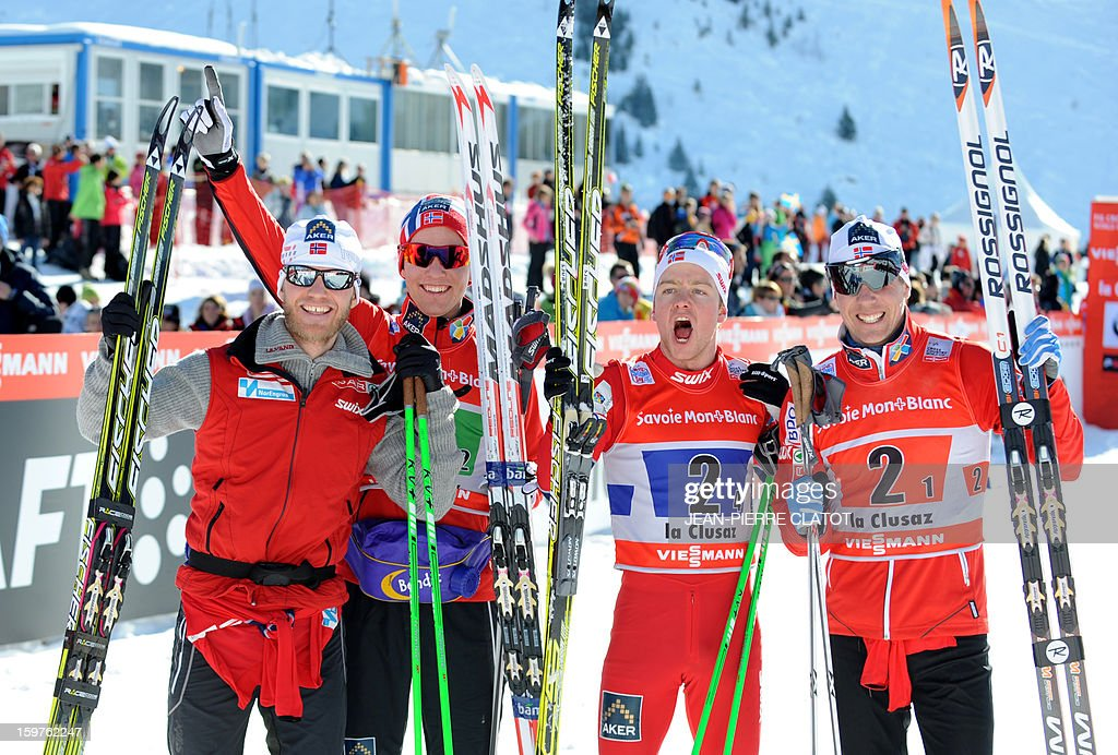 Norway's Martin Johnsrud Sundby, Didrik Toenseth, Sjur Roethe and Eldar Roenning, celebrate after winning the Nordic skiing combined World Cup relay (4 x 7,5 km) on January 20, 2013 in La Clusaz, eastern France.