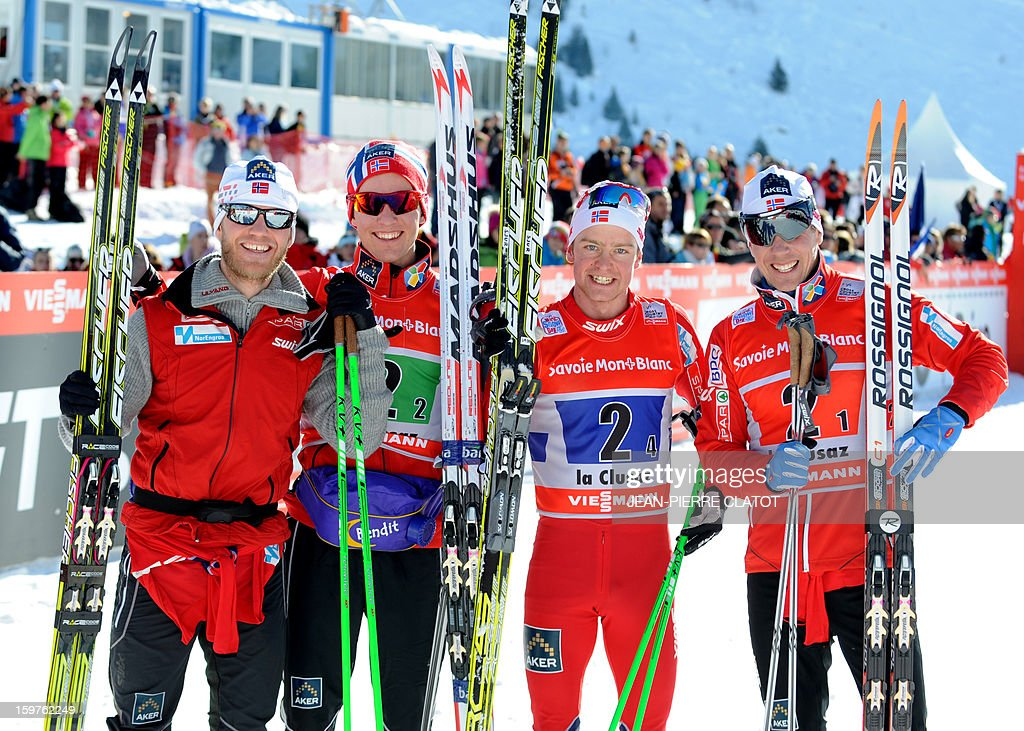 Norway's Martin Johnsrud Sundby, Didrik Toenseth, Sjur Roethe and Eldar Roenning, celebrate after winning the Nordic skiing combined World Cup relay (4 x 7,5 km) on January 20, 2013 in La Clusaz, eastern France. AFP PHOTO JEAN-PIERRE CLATOT