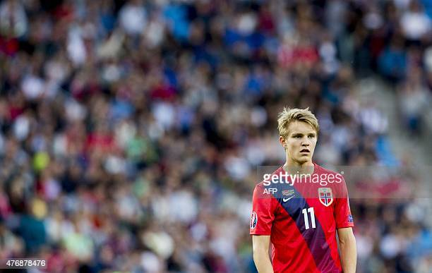 Norway's Martin Oedegaard reacts during the UEFA Euro 2016 Group H qualifying football match Norway v Azerbaijan in Oslo on June 12 2015 AFP PHOTO /...