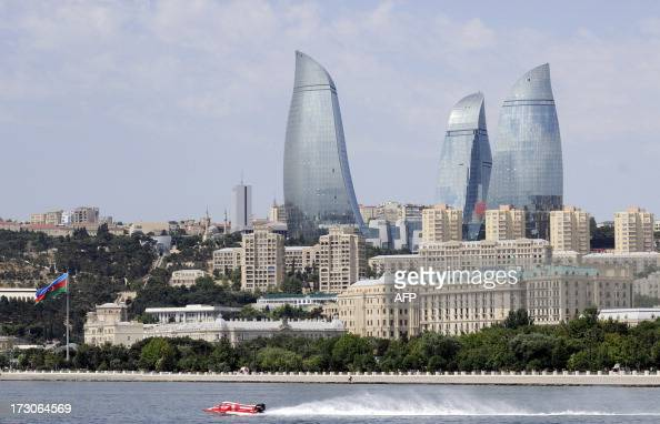 Norway's Mette B Bjerknaes competes during the Powerboat race on July 6 2013 in Baku Baku hosts the second race F2 World Championship 2013 The 2 mile...