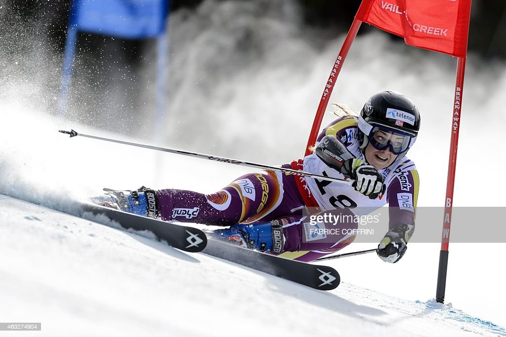 Norway's <a gi-track='captionPersonalityLinkClicked' href=/galleries/search?phrase=Nina+Loeseth&family=editorial&specificpeople=4157062 ng-click='$event.stopPropagation()'>Nina Loeseth</a> clears a gate during the first run of the 2015 World Alpine Ski Championships women's giant slalom on February 12, 2015 in Beaver Creek, Colorado.
