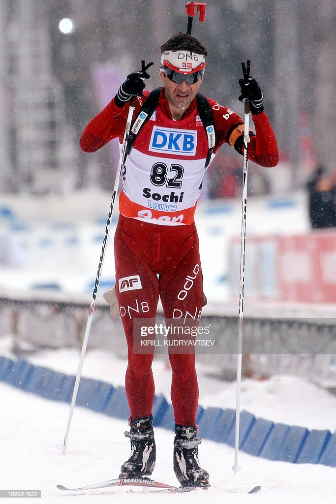 Norway's Ole Einar Bjoerndalen competes in the Men 7,5 km Sprint during IBU World Cup Biathlon at Laura Cross Country and Biathlon Center in Russian Black Sea resort of Sochi on March 9, 2013. France's Martin Fourcade took the first place ahead of Russia's Evgeny Ustyugov and Norway's Henrik L'Abee-Lund.