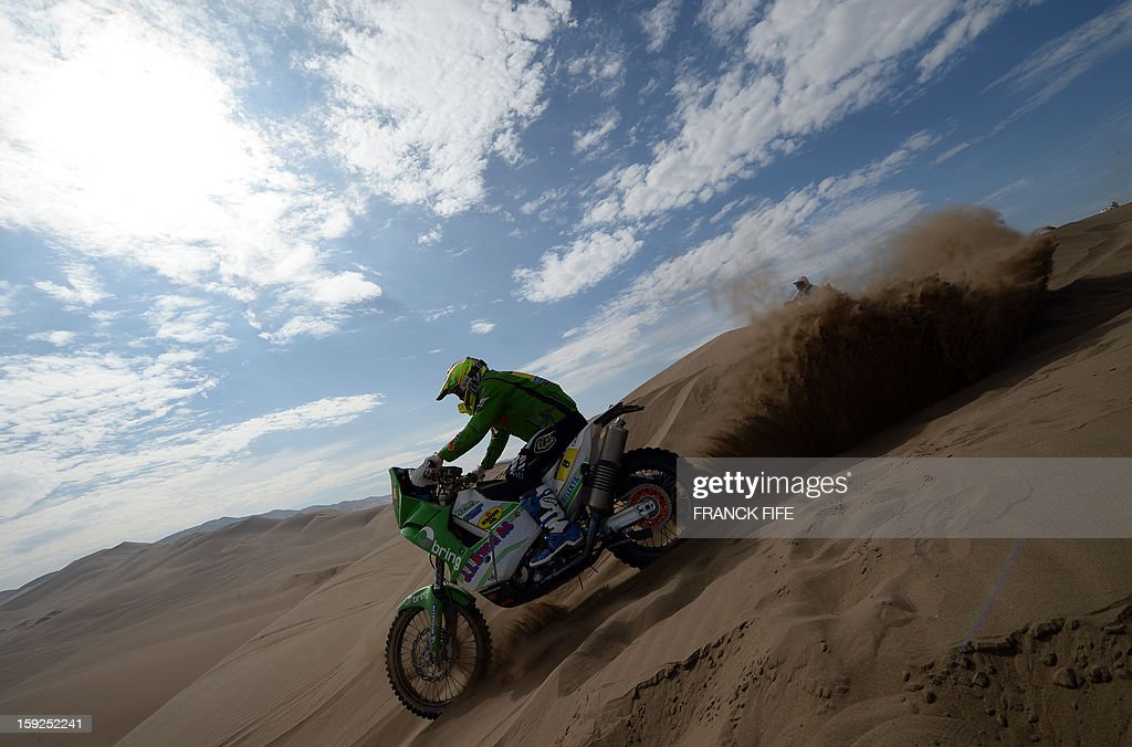 Norway's Paul Ullevalseter competes in the Stage 6 of the 2013 Dakar Rally between Arica and Calama, Chile, on January 10, 2013. The rally is taking place in Peru, Argentina and Chile from January 5 to 20.