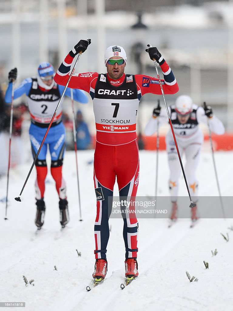 Norway's Petter jr. Northug reacts after crossing the finish line to win the Men's 1.1 kilometer cross country World Cup Royal Palace Sprint on March 20, 2013 in Stockholm.