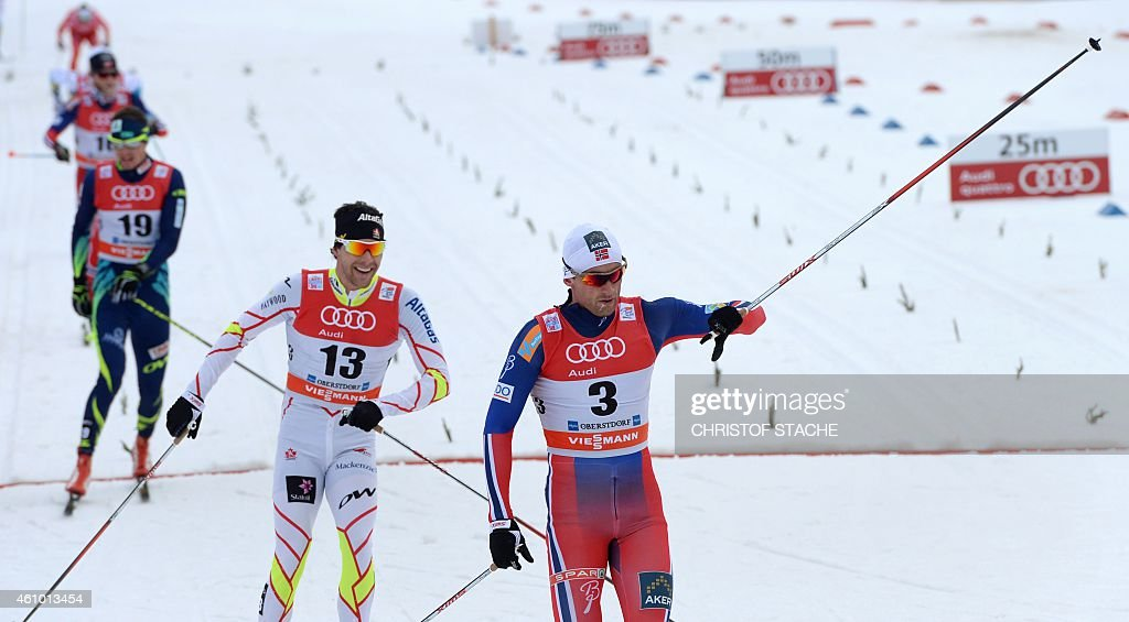 Norway's Petter Jr Northug (R) reacts as he crosses the finish line followed by Canada's <a gi-track='captionPersonalityLinkClicked' href=/galleries/search?phrase=Alex+Harvey+-+Skier&family=editorial&specificpeople=6719953 ng-click='$event.stopPropagation()'>Alex Harvey</a> during the men's 15 kilometers pursuit classic style competition of the 'Tour de Ski' Cross Country World Cup on January 4, 2015 in Oberstdorf, southern Germany. Norway's Petter Jr Northug won the competition, Canadian <a gi-track='captionPersonalityLinkClicked' href=/galleries/search?phrase=Alex+Harvey+-+Skier&family=editorial&specificpeople=6719953 ng-click='$event.stopPropagation()'>Alex Harvey</a> placed second and Swedish Calle Halfvarsson placed third.