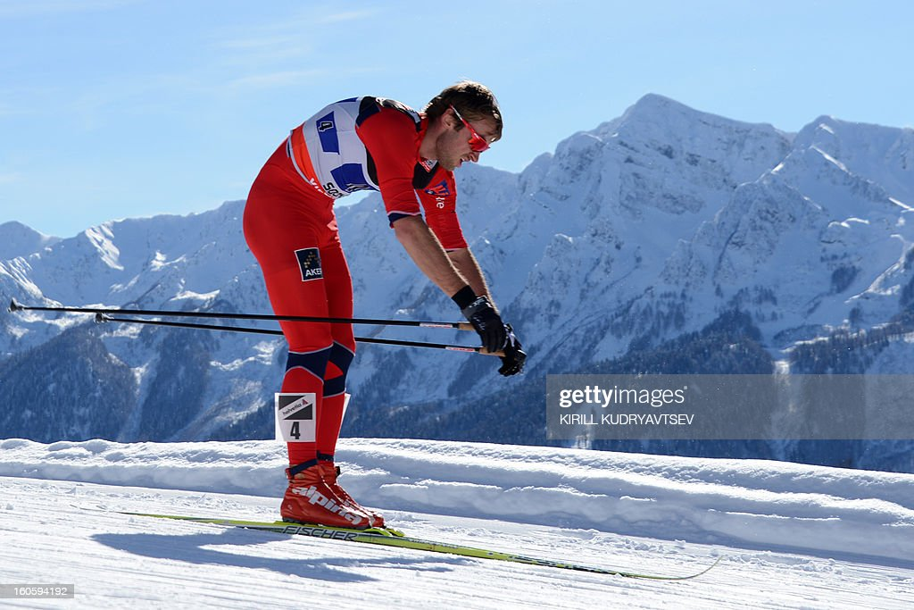 Norway's Petter Northug competes during 6 x 1,8 km Men's Classic Team Sprint of FIS Cross Country skiing World Cup at Laura Cross Country and Biathlon Center in Russian Black Sea resort of Sochi on February 3, 2013. Russia's Maxim Vylegzhanin and Dmitry Japarov took the first place ahead of Sweden's Teodor Peterson and Emil Joensson and Germany's Axel Teichmann and Tobias Angerer.