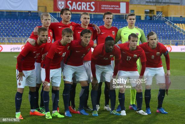 Norway's players pose for a team photo before the start of the U21 International Friendly match between Portugal and Norway at Estadio Antonio...