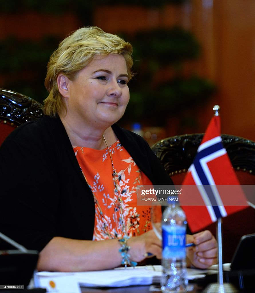 Norway's Prime Minister <a gi-track='captionPersonalityLinkClicked' href=/galleries/search?phrase=Erna+Solberg&family=editorial&specificpeople=6165203 ng-click='$event.stopPropagation()'>Erna Solberg</a> speaks during her official talks with her Vietnamese counterpart Nguyen Tan Dung (not pictured) at Dung's Cabinet Office in Hanoi on April 17, 2015. Solberg is on a three-day official visit aimed at strengthening bilateral ties . AFP PHOTO / HOANG DINH Nam