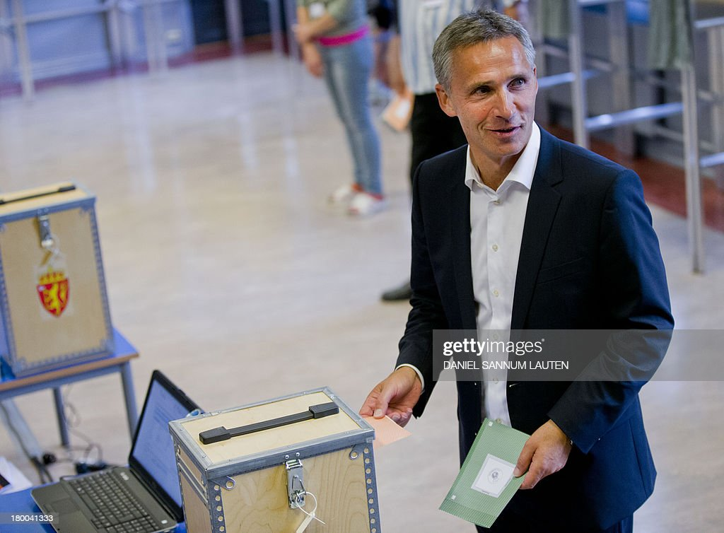 Norway's Prime Minister Jens Stoltenberg casts his ballot in the parliamentary election at a polling station in Oslo, on September 8, 2013. Norway's centre-right opposition looks set to oust Prime Minister Jens Stoltenberg in Monday's general election, paving the way for an anti-immigration party to enter government two years after right-wing extremist Anders Behring Breivik's deadly attacks.