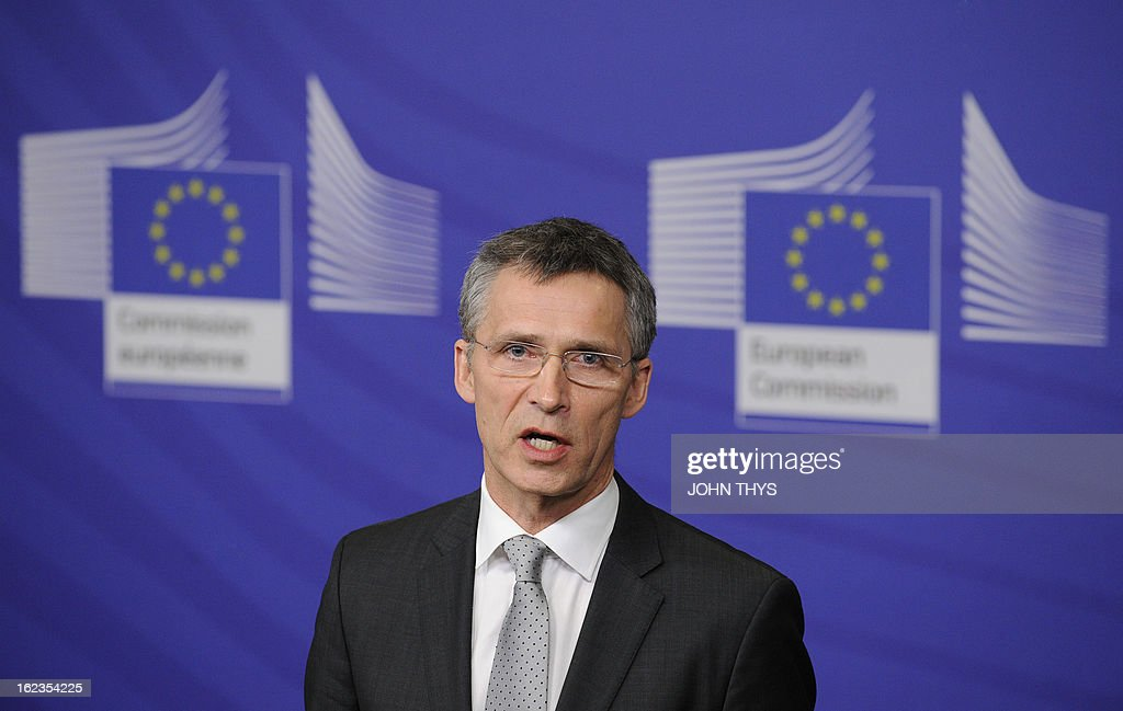 Norway's Prime Minister Jens Stoltenberg holds a press conference at the EU Headquarters in Brussels on February 22, 2013. AFP PHOTO / JOHN THYS