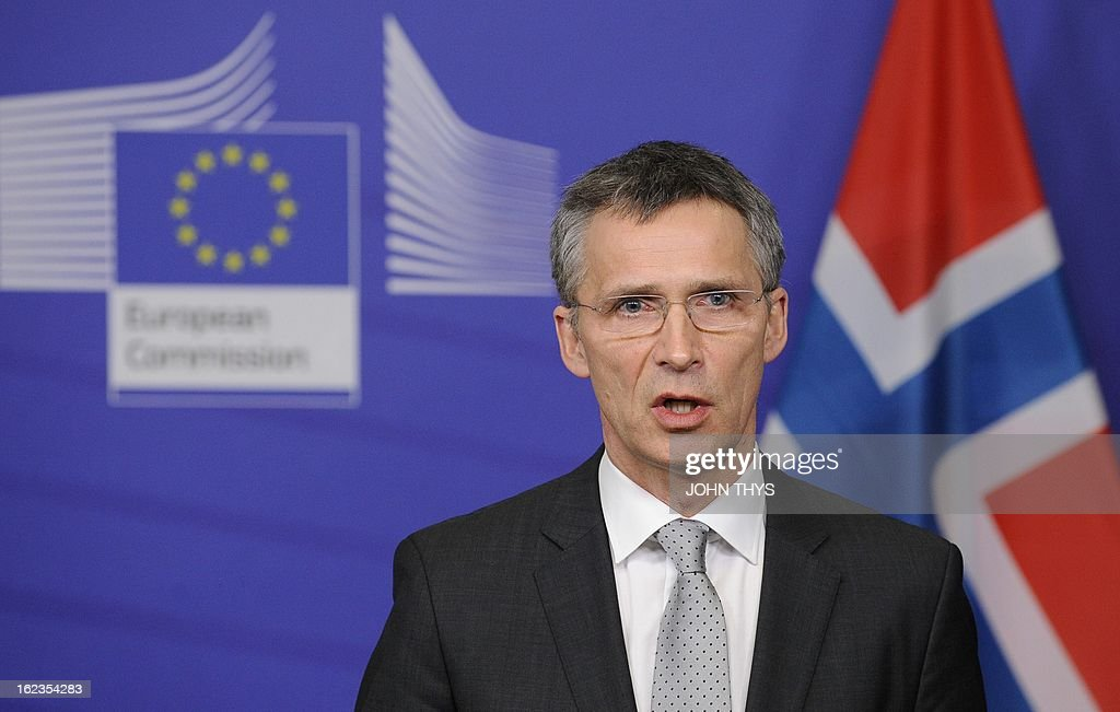 Norway's Prime Minister Jens Stoltenberg holds a press conference at the EU Headquarters in Brussels on February 22, 2013.