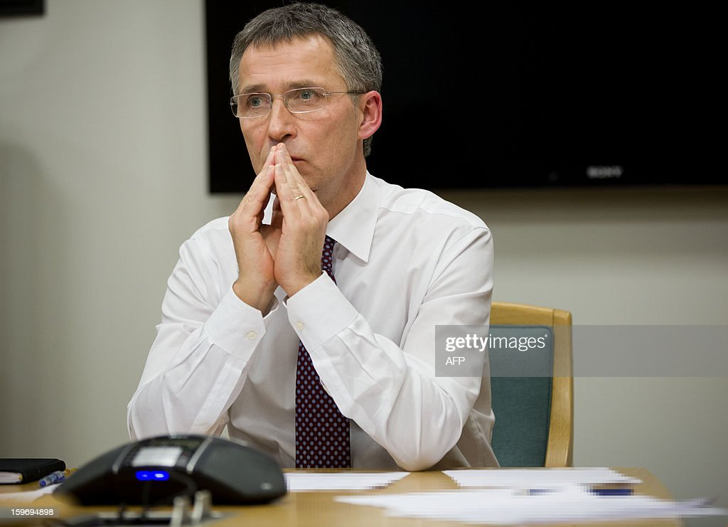 Norway's Prime Minister Jens Stoltenberg is pictured during a telephone conversation with the Algerian Prime Minister Abdelmalek Sellal in his office in Oslo on January 18, 2013. Norway should prepare itself for 'bad news' on the fate of eight Norwegian hostages among those still missing Friday after Islamist attackers raided a remote Algerian gas field, Prime Minister Jens Stoltenberg said. AFP PHOTO/ DANIEL SANNUM LAUTEN