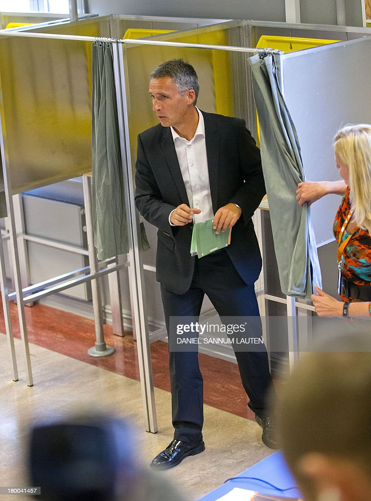Norway's Prime Minister Jens Stoltenberg leaves the polling booth to cast his ballot in the parliamentary election at a polling station in Oslo, on September 8, 2013. Norway's centre-right opposition looks set to oust Prime Minister Jens Stoltenberg in Monday's general election, paving the way for an anti-immigration party to enter government two years after right-wing extremist Anders Behring Breivik's deadly attacks.