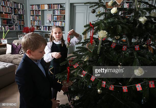Norway's Prince Sverre Magnus and Princess Ingrid Alexandra pose during a Christmas photo session at Skaugum the residence of the Crown Prince and...