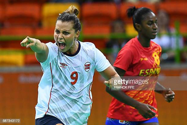 TOPSHOT Norway's right back Nora Mork celebrates a goal during the women's preliminaries Group A handball match Spain vs Norway for the Rio 2016...