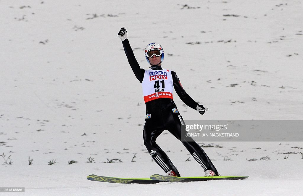 Norway's <a gi-track='captionPersonalityLinkClicked' href=/galleries/search?phrase=Rune+Velta&family=editorial&specificpeople=6845746 ng-click='$event.stopPropagation()'>Rune Velta</a> celebrates after competing in the men Ski Jumping competition at the 2015 FIS Nordic World Ski Championships in Falun, Sweden, on February 26, 2015. German Severin Freund won the event ahead of Austria's Gregor Schlierenzauer (2nd) and Norway's <a gi-track='captionPersonalityLinkClicked' href=/galleries/search?phrase=Rune+Velta&family=editorial&specificpeople=6845746 ng-click='$event.stopPropagation()'>Rune Velta</a> (3rd). AFP PHOTO / JONATHAN NACKSTRAND