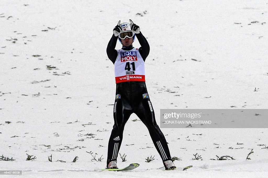 Norway's <a gi-track='captionPersonalityLinkClicked' href=/galleries/search?phrase=Rune+Velta&family=editorial&specificpeople=6845746 ng-click='$event.stopPropagation()'>Rune Velta</a> celebrates after competing in the men Ski Jumping competition at the 2015 FIS Nordic World Ski Championships in Falun, Sweden, on February 26, 2015. German Severin Freund won the event ahead of Austria's Gregor Schlierenzauer (2nd) and Norway's <a gi-track='captionPersonalityLinkClicked' href=/galleries/search?phrase=Rune+Velta&family=editorial&specificpeople=6845746 ng-click='$event.stopPropagation()'>Rune Velta</a> (3rd).