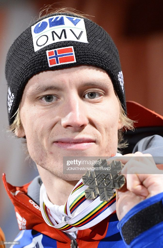 Norway's <a gi-track='captionPersonalityLinkClicked' href=/galleries/search?phrase=Rune+Velta&family=editorial&specificpeople=6845746 ng-click='$event.stopPropagation()'>Rune Velta</a> poses with his bronze medal during the winner ceremony for the Men Ski Jumping Individual competition of the 2015 FIS Nordic World Ski Championships in Falun, Sweden, on February 27, 2015. Germany's Severin Freund won ahead of Austria's Gregor Schlierenzauer and Norway's <a gi-track='captionPersonalityLinkClicked' href=/galleries/search?phrase=Rune+Velta&family=editorial&specificpeople=6845746 ng-click='$event.stopPropagation()'>Rune Velta</a>.