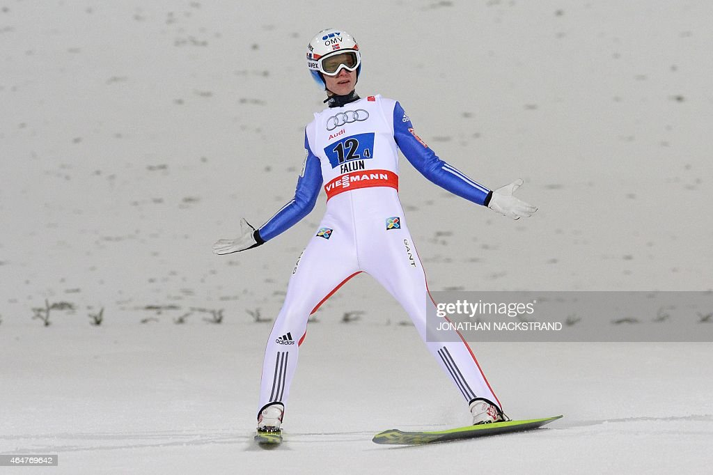 Norway's <a gi-track='captionPersonalityLinkClicked' href=/galleries/search?phrase=Rune+Velta&family=editorial&specificpeople=6845746 ng-click='$event.stopPropagation()'>Rune Velta</a> reacts after competing during the Men Large Hill Team competition of the 2015 FIS Nordic World Ski Championships in Falun, Sweden, on February 28, 2015.